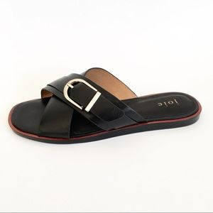 Joie Panther Slide Sandals In Black X Strap Buckle
